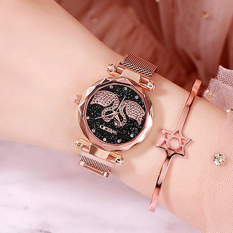Fashion Starry Sky Watch Women Quartz Magnetic Watch Crystal Rhinestone Luxury Brand Rose Gold Ladies Bracelet Clock Reloj Mujer