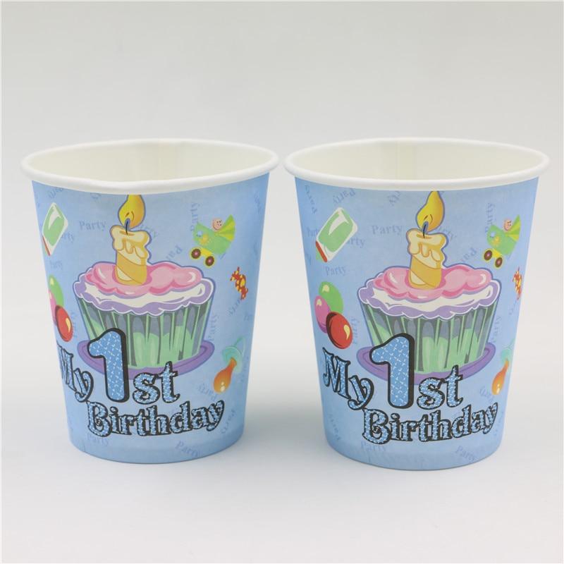 10 pc/lot azul primera fiesta de cumpleaños para niños de papel desechable taza/