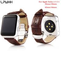 Lpwhh 악어 가죽 애플 시계 밴드 42mm 38mm 애플 시계 시리즈 4 3 2 1 금속 버클 시계 밴드 스트랩 손목 시계