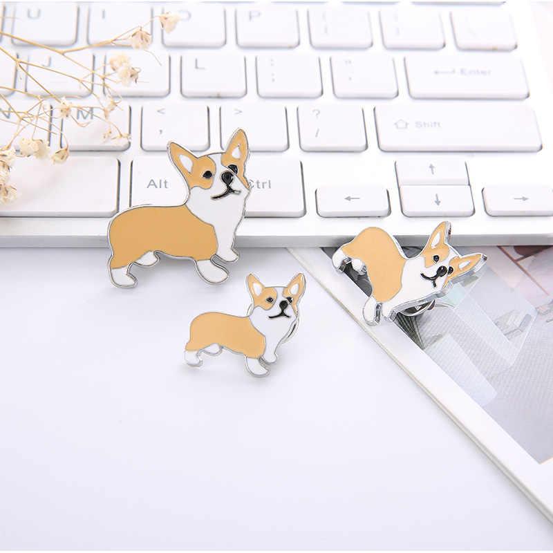 Три размера корги собаки Броши Праздничная брошь значок Украшенные булавки ювелирные изделия мультфильм милые броши для мужчин и женщин модные подарки