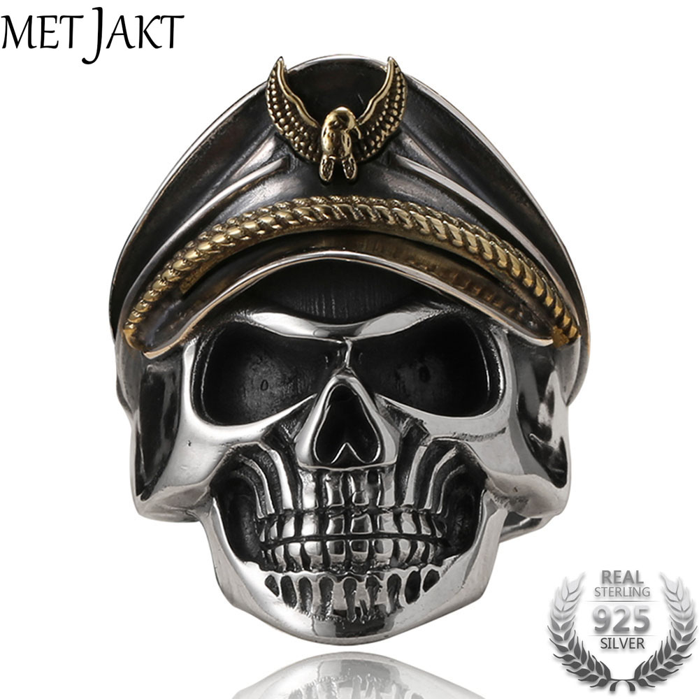 MetJakt Punk Army Cap World War II Skull Officer Ring Solid Real 925 Sterling Silver Ring