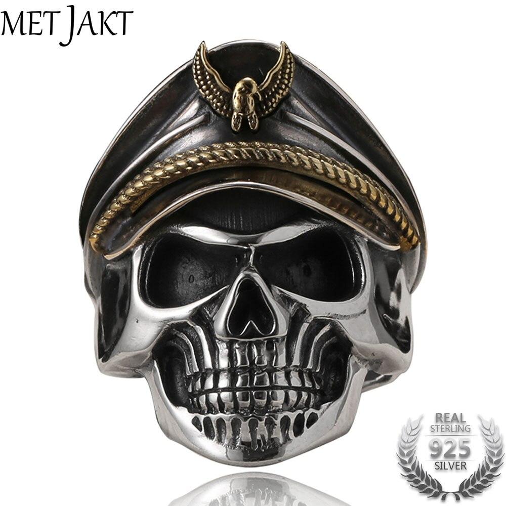 MetJakt Punk Army Cap Wereldoorlog II Schedel Officer Ring Effen Real 925 Sterling Zilveren Ring voor Mannen Vintage Thai Zilveren Sieraden-in Ringen van Sieraden & accessoires op  Groep 1