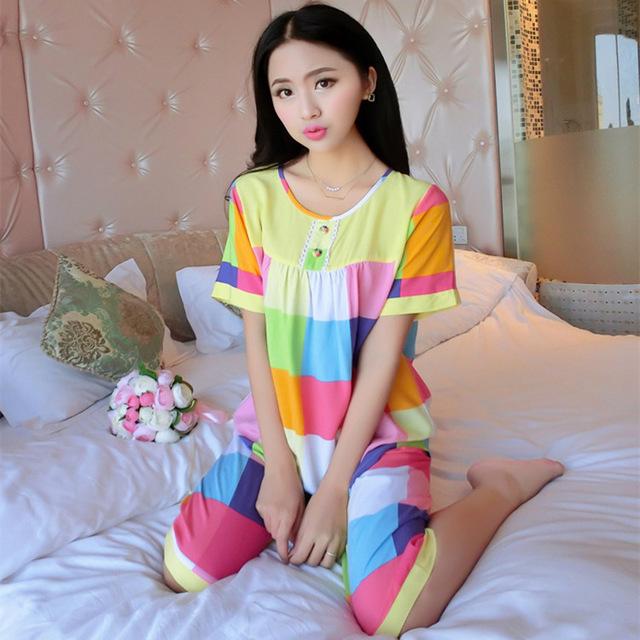 Flor de algodón Para Mujer Pijama de Otoño Cortos Respirar Y Homewear Cómodo Suave L XL XXL Traje de Casa