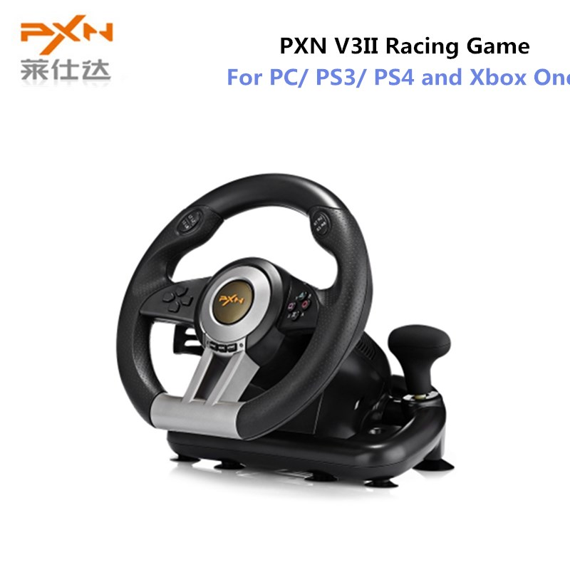 PXN V3II Racing Game Steering Wheel USB Vibration Dual Motor with Foldable Pedal for PS3 PS4 Xbox One Gaming Remote Controller pxn 0082 game joystick gaming controllers 8 buttons game rocker lever joystick gampad handle controller for ps4 ps3 xbox one