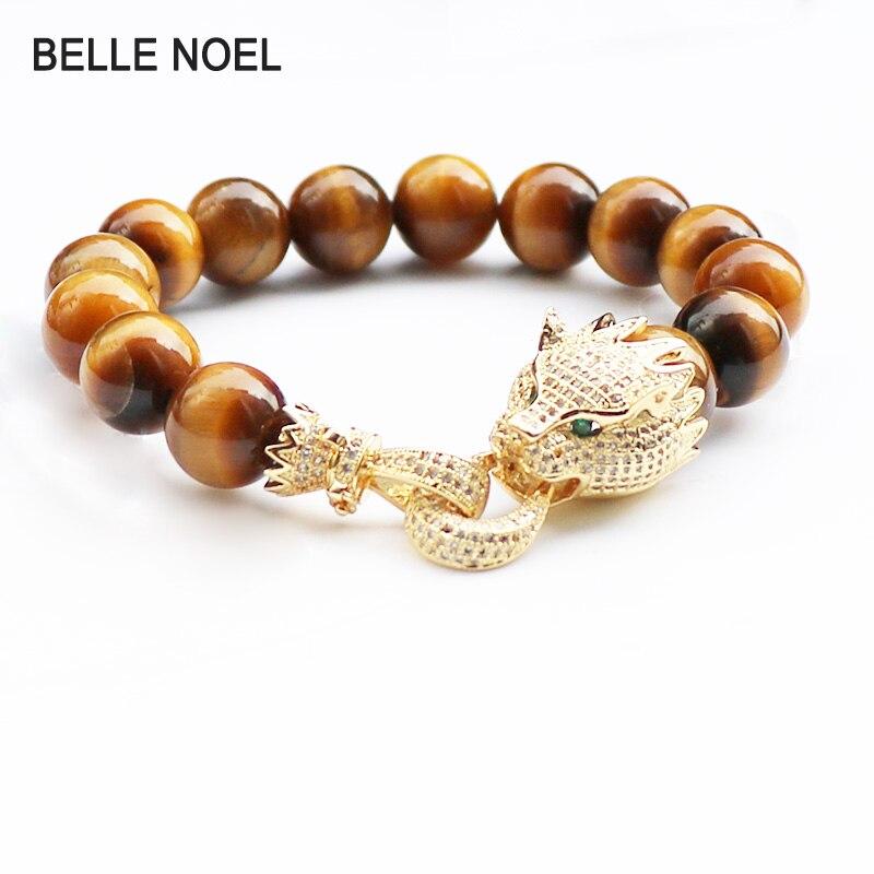 Trendy Desig Bracelet Men Bracelets Natural Stone Beads Copper 12mm Natural Stone Tiger Eye Golden Leopard Couple Bracelet