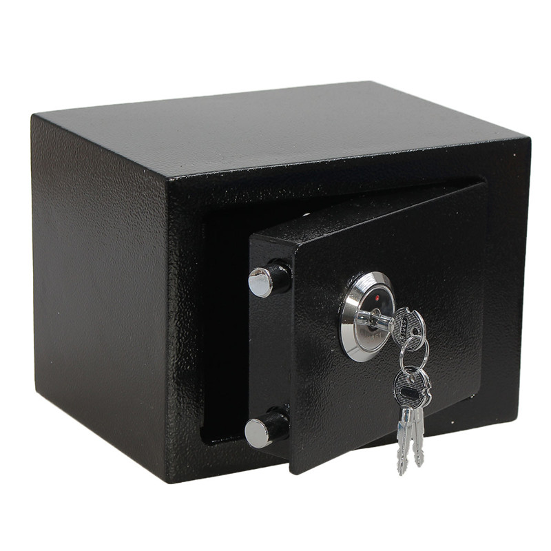 Durable Strong Iron Steel Black Key Operated Security Money Cash Safe Box Home Office House New Arrival Free Shipping