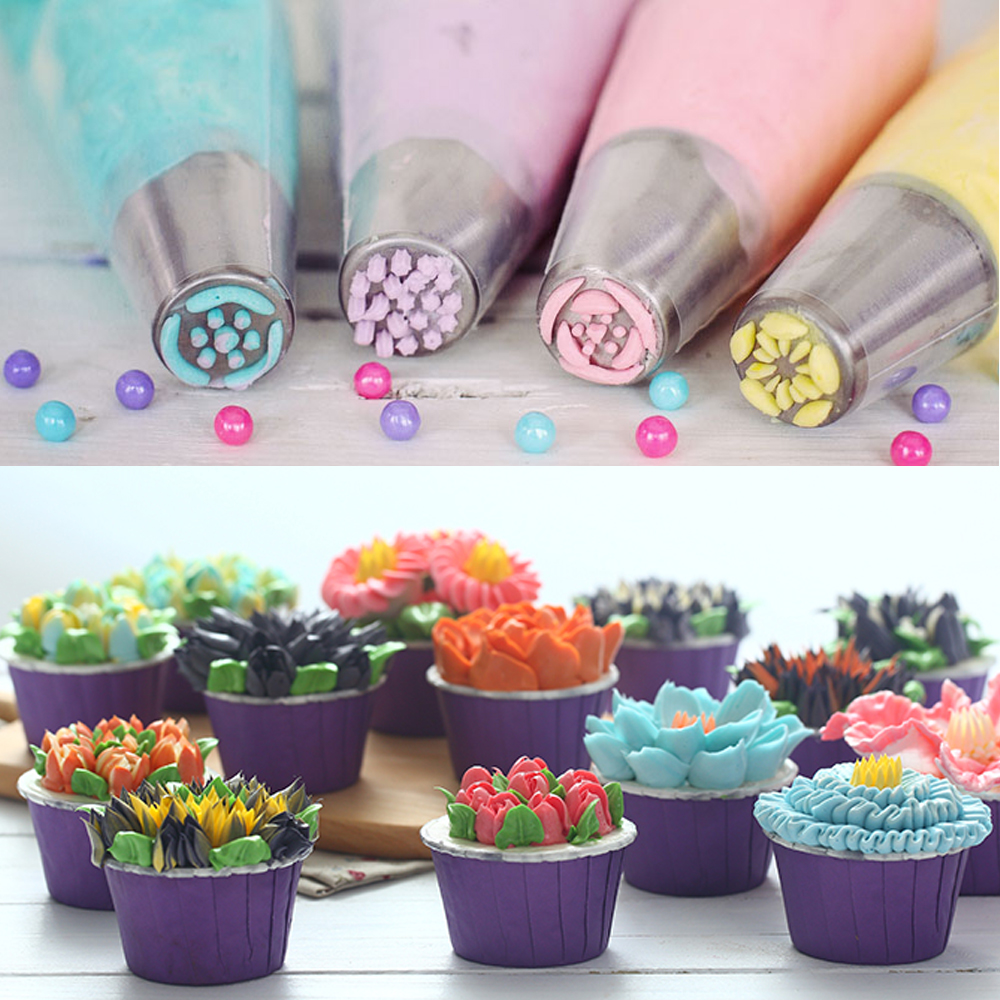 Cream Nozzles Stainless Steel Icing Piping Tips Rose Tulip Flower DIY Cake Decoration Kitchen Accessories Baking Supply (7)