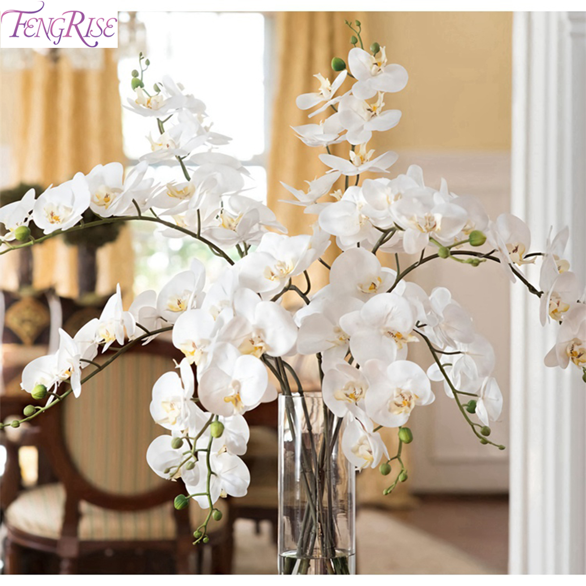 Fengrise White Phalaenopsis Orchid Artificial Orchid Flower For