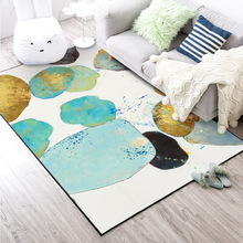 Fashion abstract watercolor green gold stone bedroom door living room bedside mat carpet custom made non-slip plush big size rug