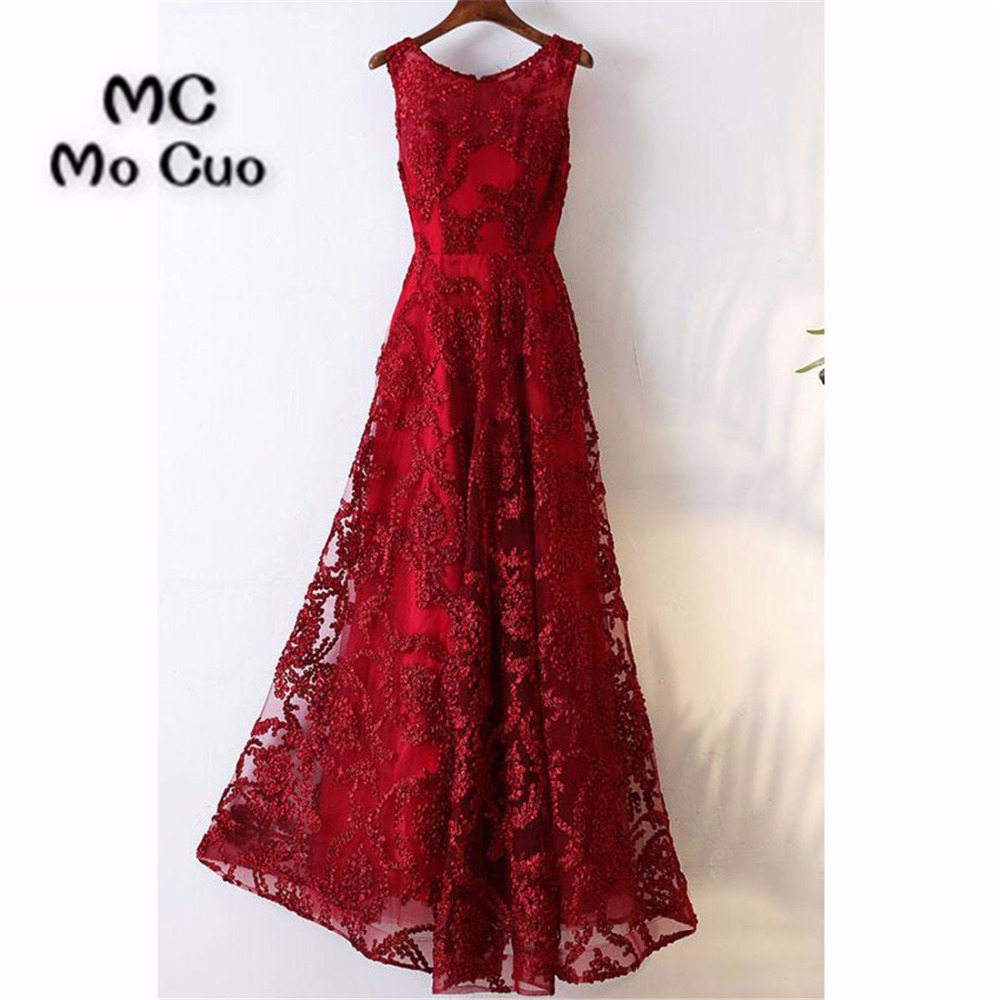 Elegant 2018 Burgundy   Prom     dresses   Long with Appliques Lace Illusion   dress   for graduation Formal Evening   Prom     Dress