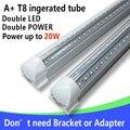 4 Шт./лот T8 LED Интегрированной Трубки 20 Вт 60 см 110 В 220 В 85-265 В Двойной led 2835 Прозрачная Крышка Бесплатная Доставка Белый/Warmwhite