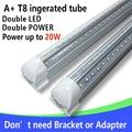 4 Pçs/lote Tubo LED T8 Integrado 20 w 60 cm 110 v 220 v 85-265 v led Duplo lâmpada 2835 Capa Frete Grátis Transparente Branco/Warmwhite