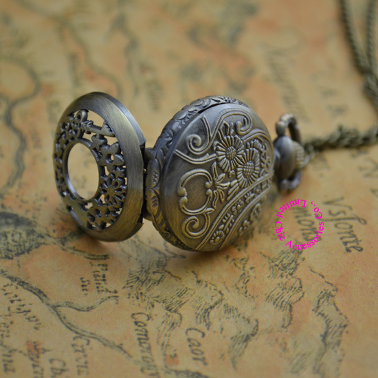 Coupon for wholesale price good quality bronze classical vintage alice wonderland rabbit and key pocket watch necklace hour