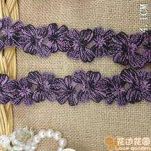 Free shipping 4.1cm Purple Lace inlaid with black texture clothing accessories scarves and skirt edge clothing accessories etc.