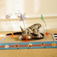 2019 New Corrugated Paper Cats Scratch Board Grinding Nails Interactive Shake Teaser Cat Toy Cat Scratcher Toy