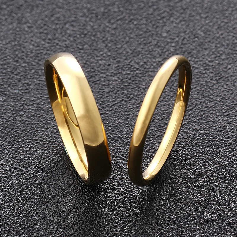 남성과 여성을위한 4mm 2mm 골드 티타늄 스틸 커플 반지