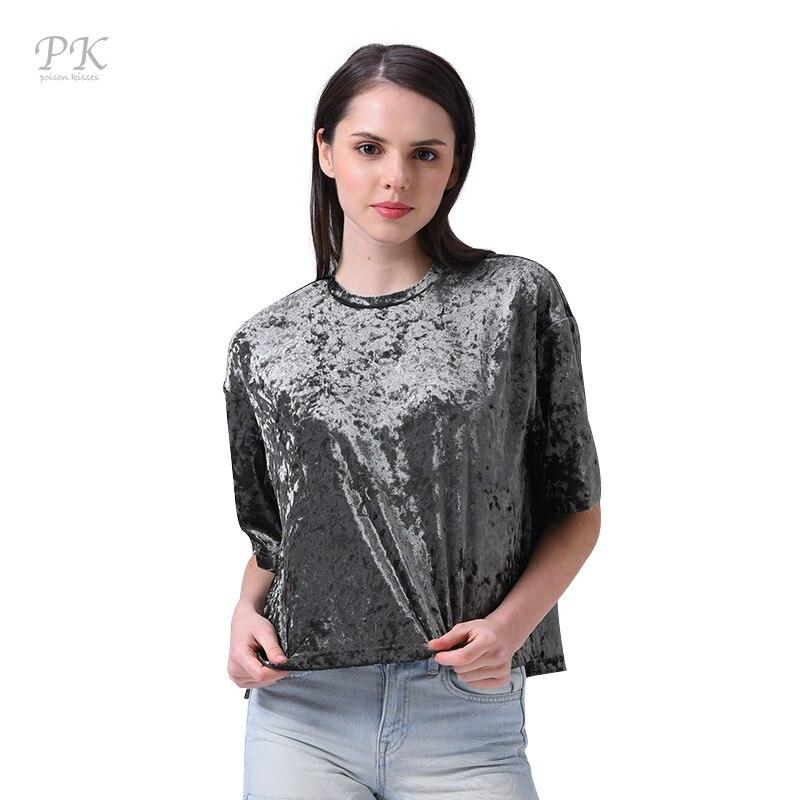 Pk silver velvet t shirt women 2017 metallic car styling for Silver metallic shirt women s
