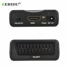 KEBIDU 1080P Scart konwerter Audio wideo Adapter HDMI kompatybilny z SCART dla HDTV Sky Box STB dla Smartphone HD TV DVD najnowszy