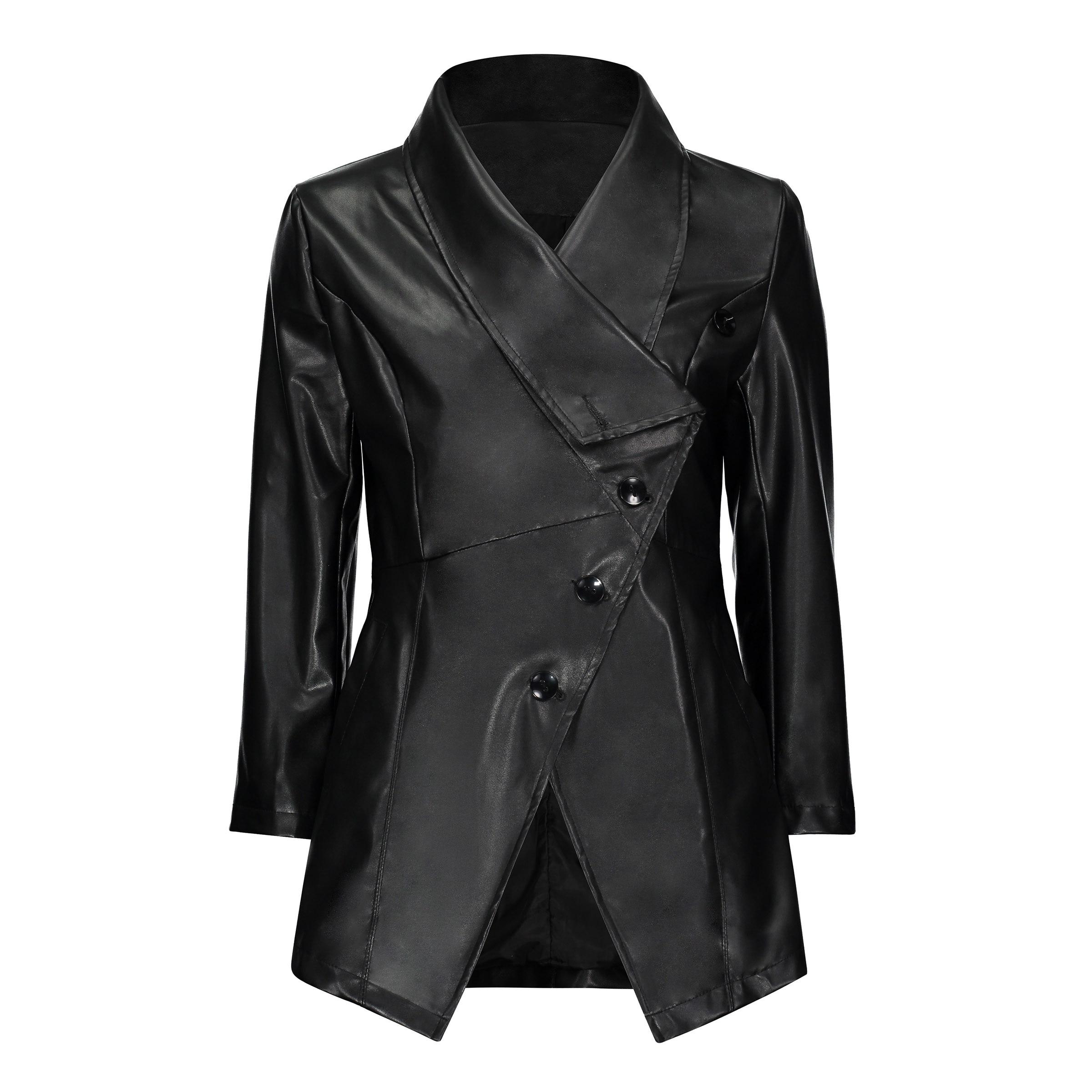 Black Autumn jacket Women Gothic faux   leather   Winter zipper Mid-long Outerwear Motorcycle faux   leather   PU Jacket 2018 Coat HOT