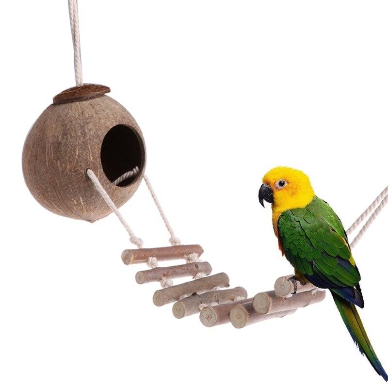 Птица Попугай игрушки гнездо Hut Кейдж Природные Коко убежище с лестницы