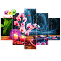 DPF 5D DIY Round Diamond Painting 5 Multi Picture Diamond Embroidery Cross Stitch Mosaic Candle Flower