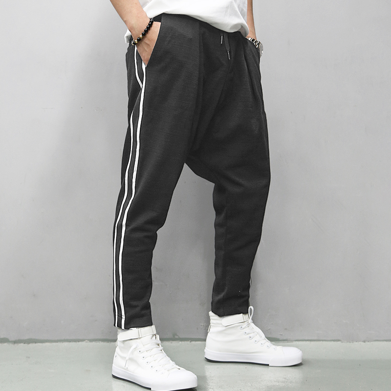 Cotton Joggers Black Men's Harem Pants Harajuku Fitness Lace Up Spring Mens Trousers 2019 Summer Streetwear Clothes Male