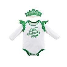 e28db863e60af Baby Mädchen Romper Set Baumwolle Engel Flügel Strampler + Stirnband 2  stücke Neugeborene Kleidung Angepasst Verfügbar St Patric.