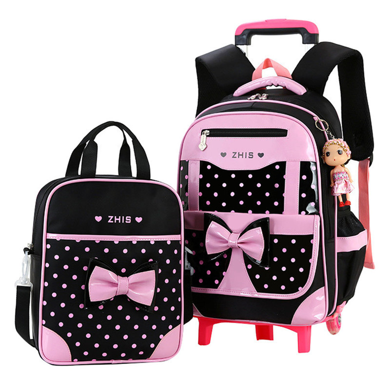 Hot Sales Removable Children School Bags With 2 Wheels Child Waterproof Trolley Backpack Kids Wheeled Bag Girls Bookbag 2pcs/set