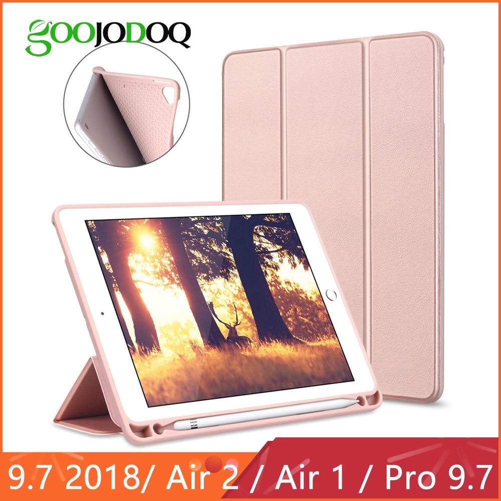 GOOJODOQ funda inteligente para iPad 2018 Pro 9,7 De 9,7 con lápiz titular de silicona suave iPad aire caso de iPad 2/ aire 1 caso Funda 2017, 9,7