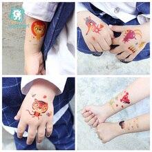 EC Series Cartoon Christmas Stickers, Cute Animal Design Water Transfer Large Temporary Children Art Tattoo Stickers