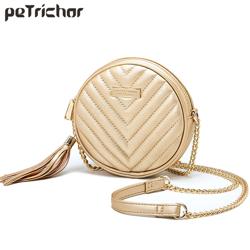 Luxury Women Fashion Round Handbag Tassel Shoulder Bag Small Long Chain Ladies Purse High Quality Circular Messenger bags Bolsa women shoulder bag top quality handbag fashion heart shaped sequins small tote ladies purse bolsa de ombro silver gift 17june27