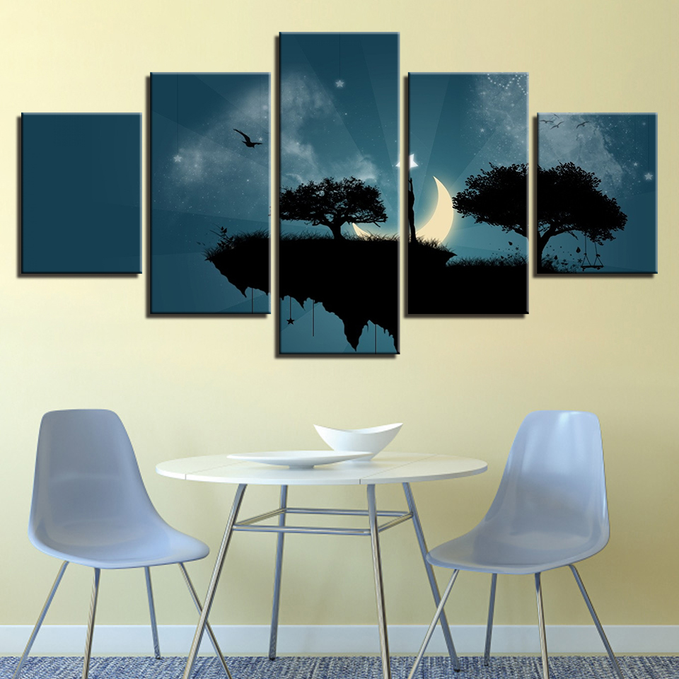 2019 Fashion Art Pictures Living Room Decoration Kids Posters Modern 5 Panel Moon Star Steep Cliff Trees Swing Home Wall Hd Print Painting Comfortable And Easy To Wear Home & Garden Home Decor
