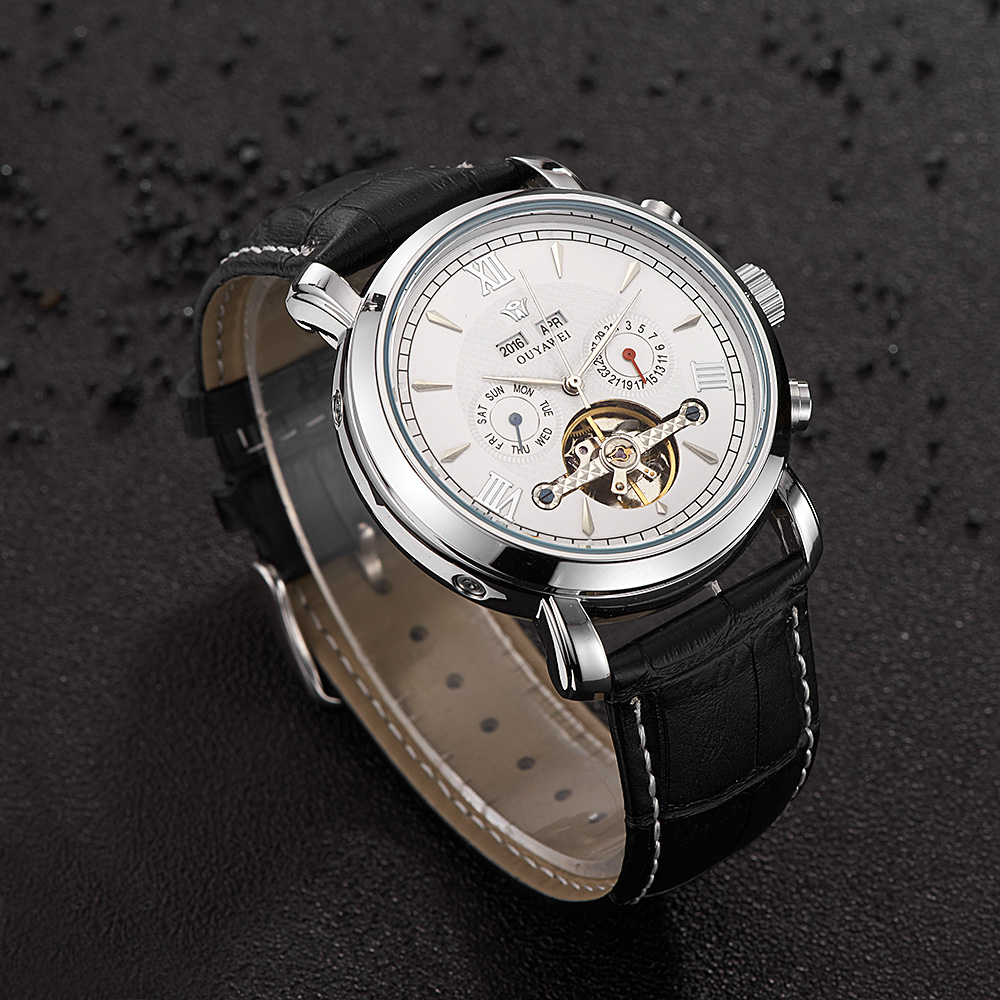 Image 3 - OUYAWEI Mens Watches Top Brand Luxury Full Calendar Flywheel Dial Automatic Mechanical Wrist Watch Leather Belt Armbanduhr-in Mechanical Watches from Watches