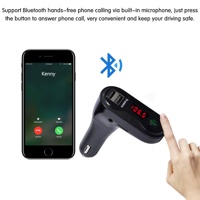 FM Transmitter Aux Modulator Wireless Bluetooth Handsfree Car Kit Car Audio MP3 Player with Dual USB Car Charger TF SD USB LCD