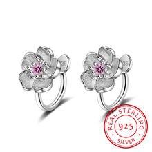 Милый комплект из серебра 925 пробы с цветком вишни розовые