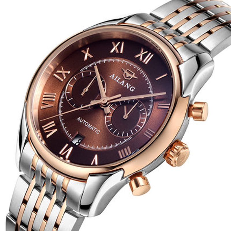 AILANG Casual Stainless Steel Watch Men 30M Waterproof Luxury Brand Mechanical Watches Relogio masculino Clock Gold Wristwatch 2016 hot sale top brand ailang luxury men watches casual fashion waterproof stainless steel wristwatches mechanical watch