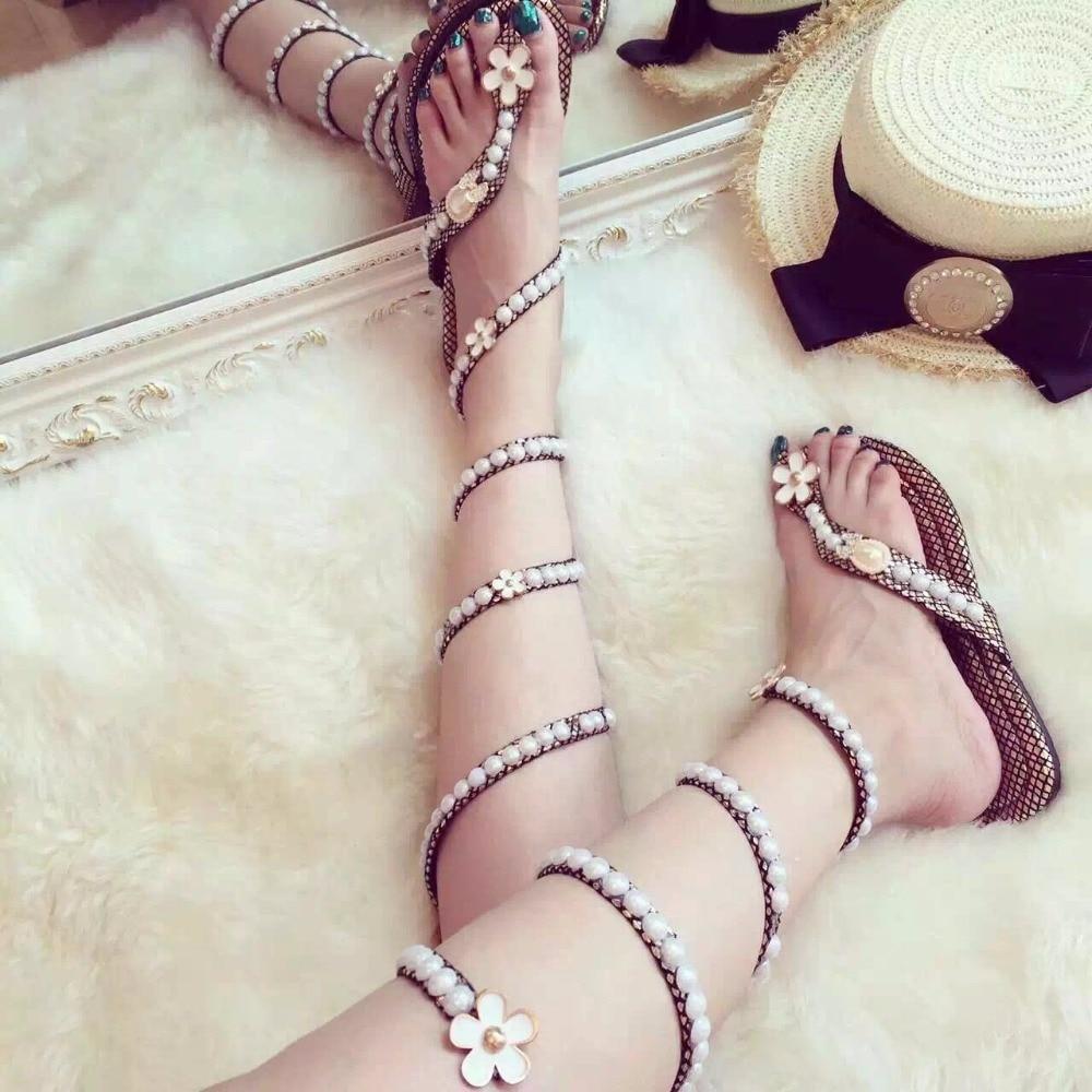 Sandals Pearl Flowers Women Summer Shoes Flat Wedge High Heels Snake Strap Open Toe Women Gladiator