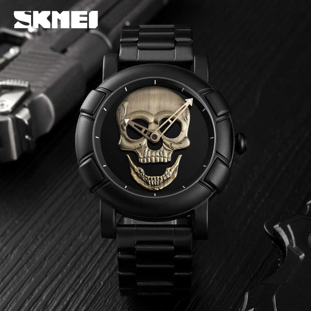 2020 SKMEI crâne Quartz montre pour hommes hommes créativité montres acier inoxydable 30M étanche mâle montre-bracelet Relogio Masculino 9178