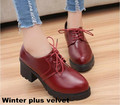 2017 korean women brand shoes Women's thick heel shoes Female black leather shoes lady platform high heels lace-up Single Shoes