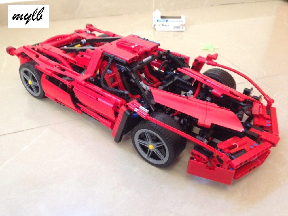 Mylb New Technic ENZO 1:10 Supercar Bilmodell Byggblock Utbildningsbyggnadsstenar kompatibla med DIY