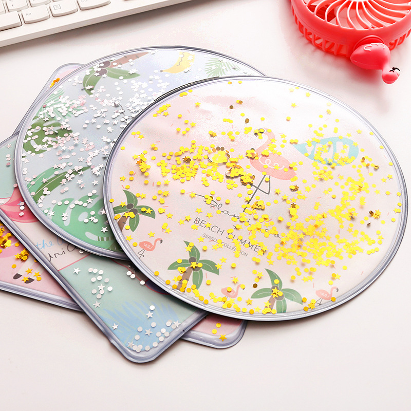 Coloffice Cute creative cartoon desktop pink Glitter mouse pad Simple sand desk organizers stationery holder office supplies 1pc