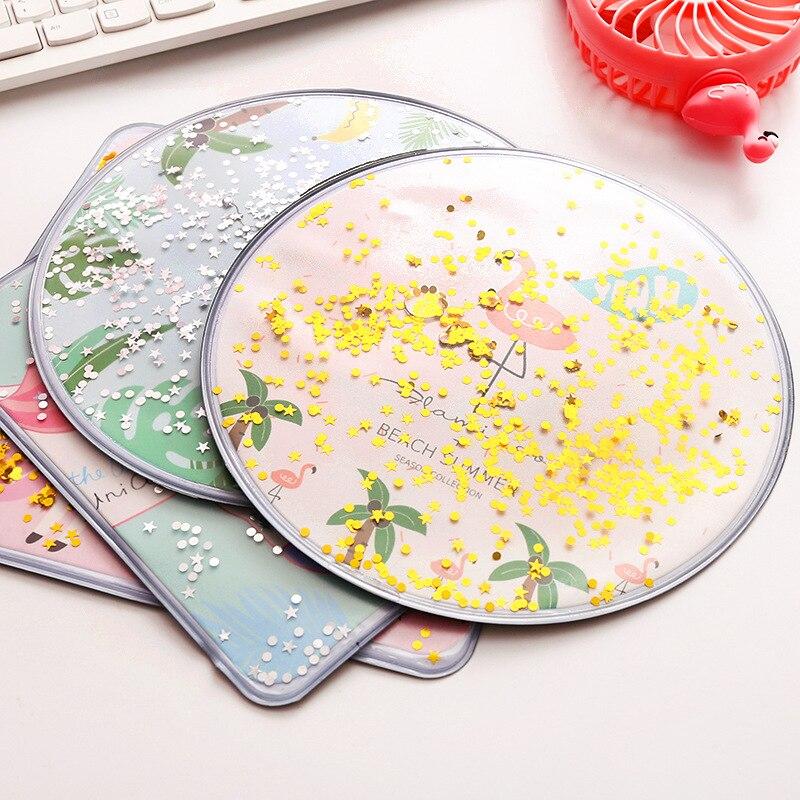 Coloffice Cute Creative Cartoon Desktop Pink Glitter Mouse Pad Simple Sand Desk Organizers Stationery Holder Office Supplies 1pc