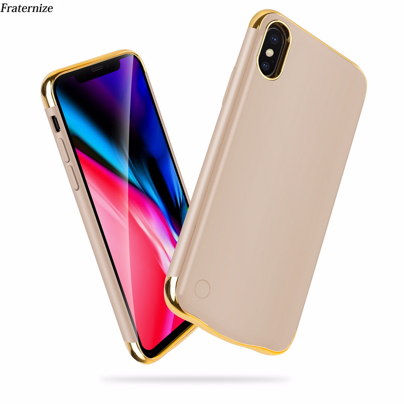 Slim Plating shockproof Battery Charger Case For iPhone XR XS Max Rechargeable Power Bank For iPhone X XS Charging Cover Capa-in Battery Charger Cases from Cellphones & Telecommunications