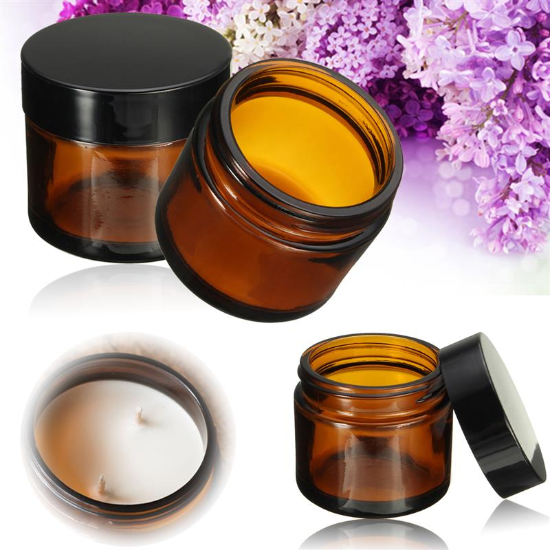 60ml Amber Bottle Glass Jar Pot Face Care Cream Refillable Bottles Cosmetic Cream Empty Container Makeup Tool With Black Lid Cap
