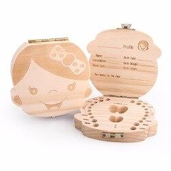 Tooth Box  English Italy Spanish Portuguese PolandTurkey Dutch Greece Wood Storage Box For Baby Organizer  Box For  Milk Teeth