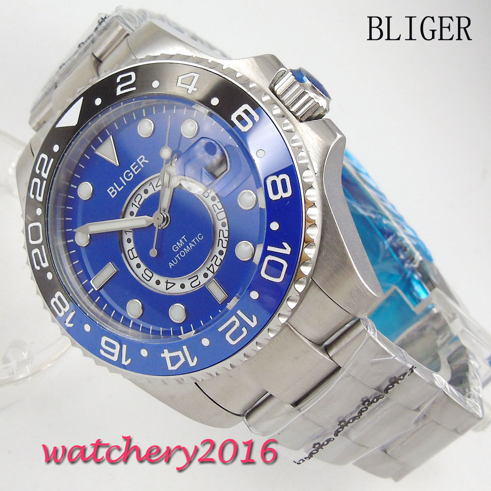 43mm Bliger blue dial Luxury Rotating ceramic Bezel GMT Bracelet Clasp Date Sapphire glass Automatic Mechanical mens Wristwatch43mm Bliger blue dial Luxury Rotating ceramic Bezel GMT Bracelet Clasp Date Sapphire glass Automatic Mechanical mens Wristwatch
