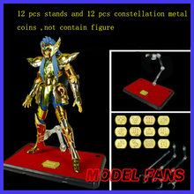MODEL FANS 12pcs/lot gold saint seiya cloth myth action toy EX stand contain 12 pcs metal Constellation nameplates(China)