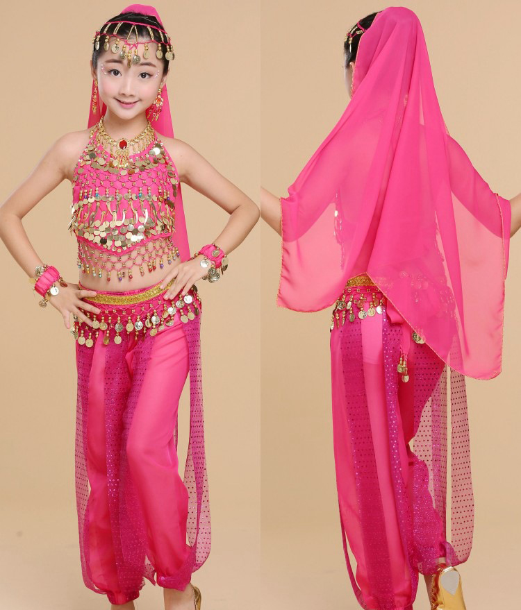 28pcs/lot Handmade Children Belly Dance Costumes Kids Belly Dancing Girls Bollywood Indian Performance Cloth Whole Set 4 Colors