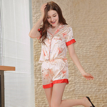 2018 spring new silk printing ladies short sleeve shorts two-piece suit