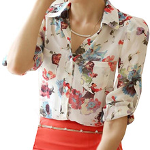2017 NEW Fashion Women Elegant Office Classical Loose Printed Chiffon Casual Shirt Clothing Tops Blouses